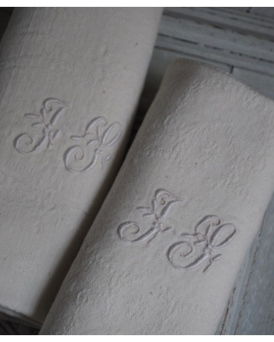 Serviettes écru coton, monogramme J L
