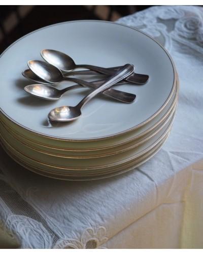 Assiettes Limoges ABARANGER blanc et fine dorure pourtour
