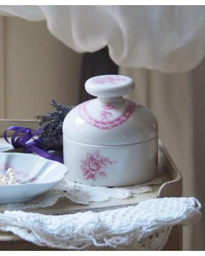 Pot et couvercle avec pommeau blanc et rose