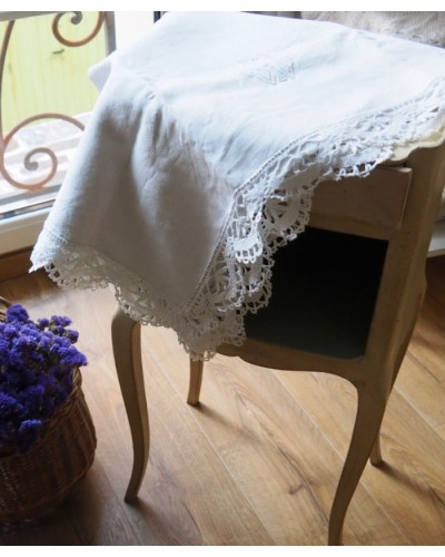 Taies d'oreiller anciennes en fil de lin et dentelle fait main fuseaux monogramme brodé