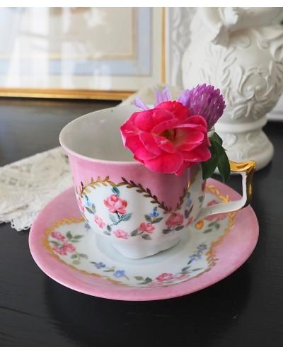 バラ柄のカップ&ソーサー ハンドペインティング
