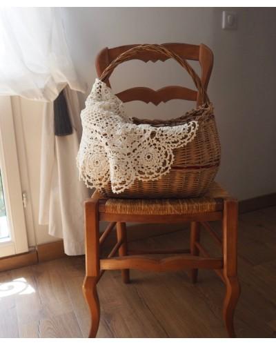 Gd napperon écru épais rond crochet