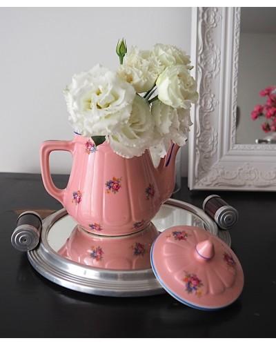 Cafetière vintage rose déco fleur