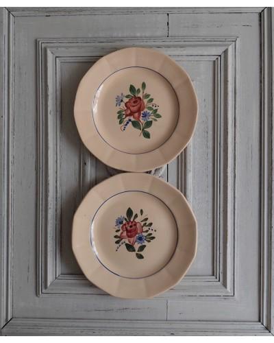 2枚組  バラ柄デザート皿  ディゴワン・サルグミンヌ
