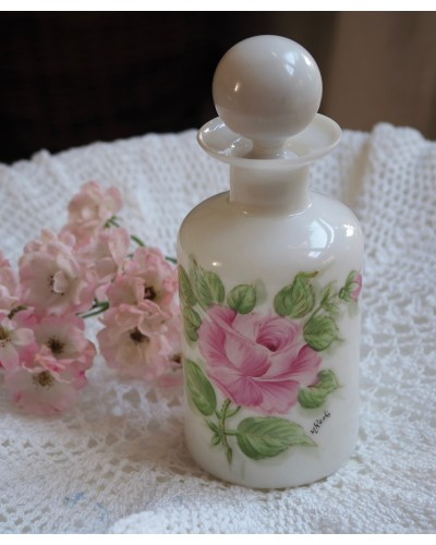 ミルクガラスのパフュームボトル  薔薇絵