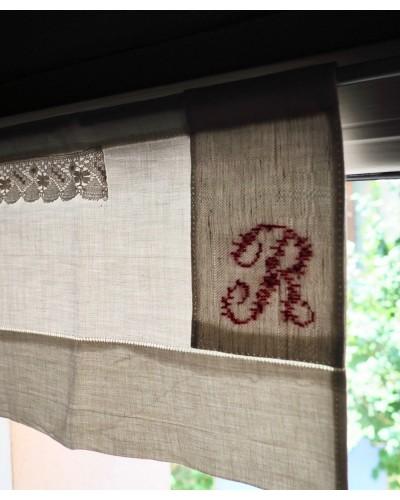 2 Petits rideaux en tissus ancien