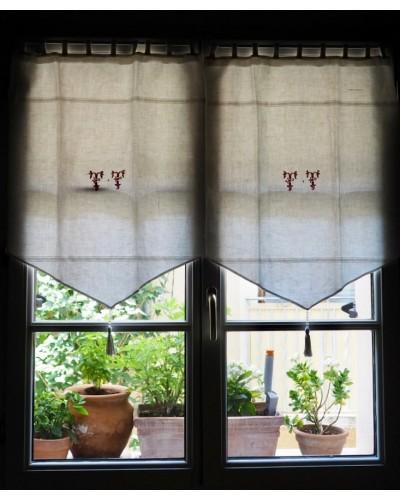 Rideaux linge ancien en lin, monogramme brodé rouge T T, avec pompon