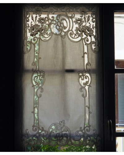 Rideau ancien, dentelles, décor floral, rectangulaire, avec 4 anneaux