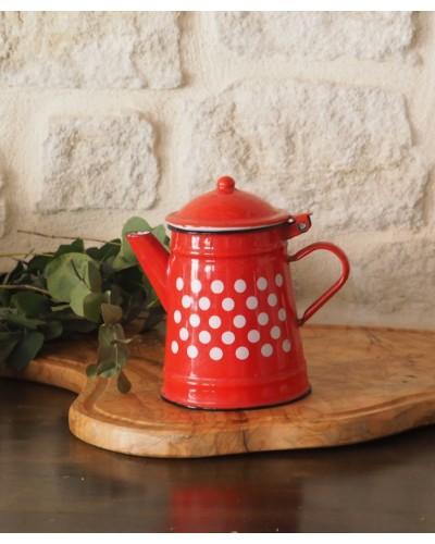 水玉のコーヒーポット 琺瑯製