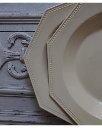 Assiette creuse faience Creil Montereau modèle perle  ivoire