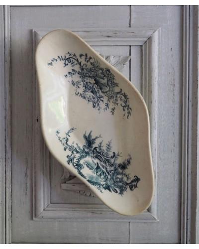 Ravier porcelaine Opaque décor oiseaux bleu