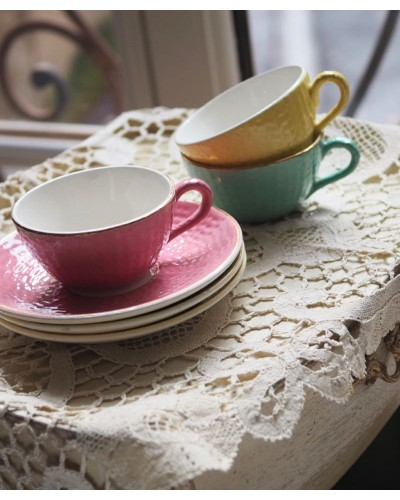 Lot 3 Tasse avec sous tasse, Digoin&Sarreguemines, décor balle de golf vert, jaune, rose