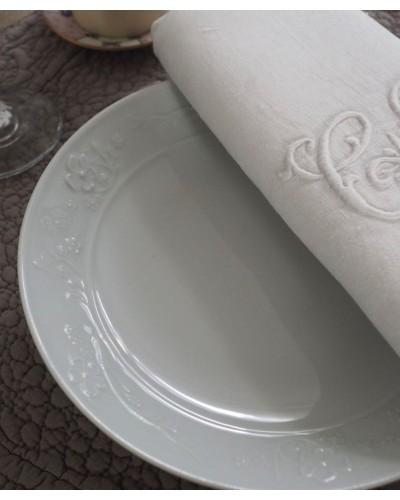 2枚組 リモージュの純白プレート エンボス