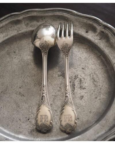 Couverts monogramme F B cuillère et fourchette Christofle avec boite