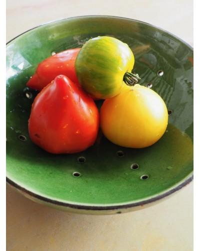 Assiette egouttoir vert faience de provence (Arles)