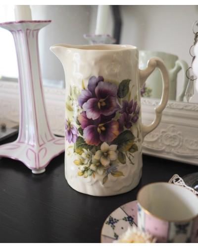 Vase décor fleur violette