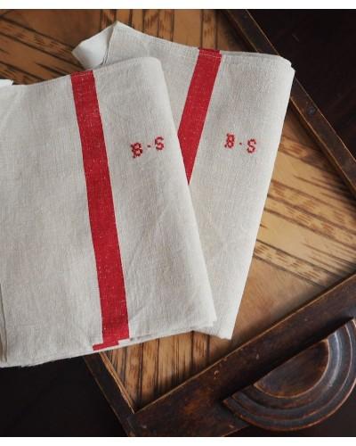 Torchon écru, lin bande rouge Monogramme BS
