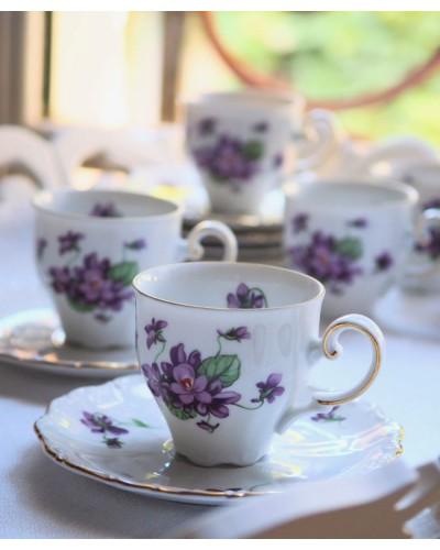 Lot 2 tasses décor violettes Porcelaine Seltmann Weiden-E.bavaria série Theresia