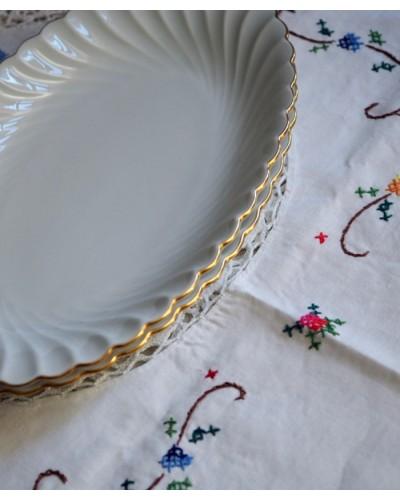 Raviers  Porcelaine  Limoge Havilland ancien blanc dorure  Modele Torse