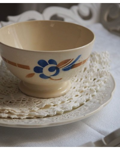 Bol décore fleure bleu et marron