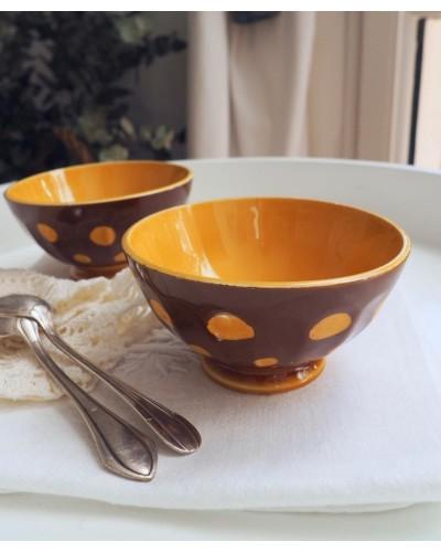2個組 茶色水玉のプチカフェオレボウル ディゴワン・サルグミンヌ
