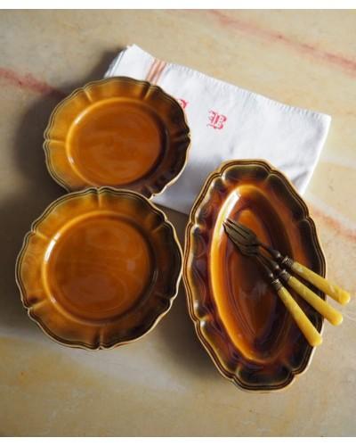 Lot 2 petites Assiettes & 1 Ravier faience marron bord vert ébréchures petits éclats