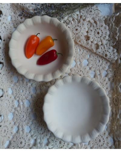 Coupe à fruits cuiite naturelle ecru Pichon Uzès bords dentelés