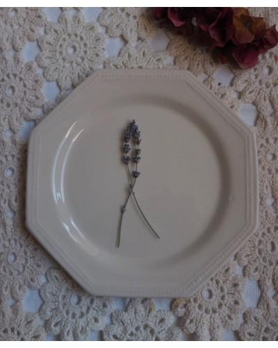 Assiette Christophe Pichon Uzès blanc octogonale