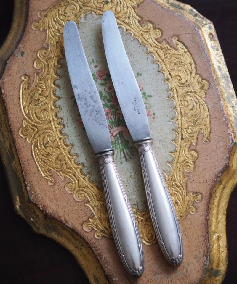 couteau a entremet en métal argenté modèle rubans sous blister CHRISTOFLE