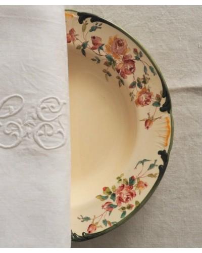 ハンドペイントのバラ柄クルーズ皿 1890年 ロンシャン