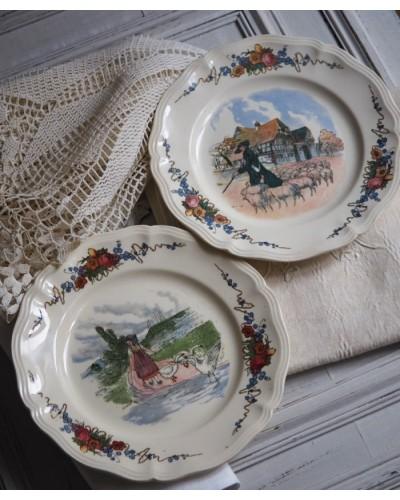 サルグミンヌ  「Obernai」プレート2枚組 アルザスの少女と羊飼い