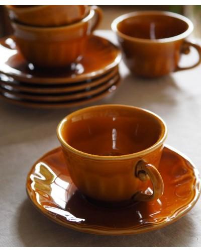 2客セット・キャラメル色のカップ&ソーサー