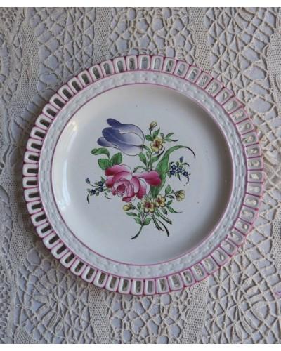 """パニエ模様のデザート皿 """"Réverbère"""" リュネヴィル 1889-"""