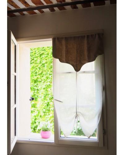 小窓カーテン 白 X ナチュラル