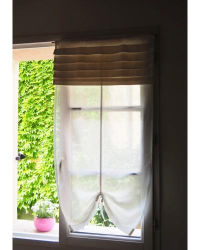 アンティークリネンのリメイク小窓カーテン 白 プリーツ