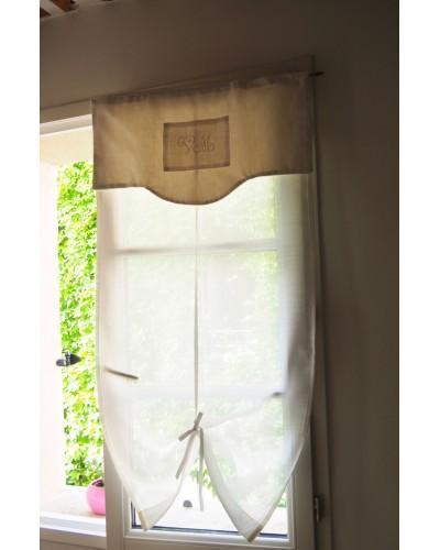 小窓カーテン 白 モノグラム