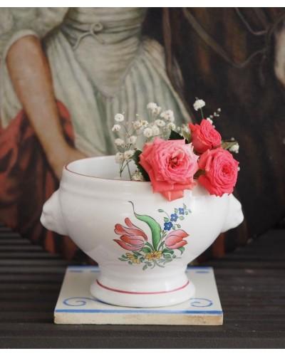バラ&チューリップ柄 スープボウル リュネヴィル 20世紀