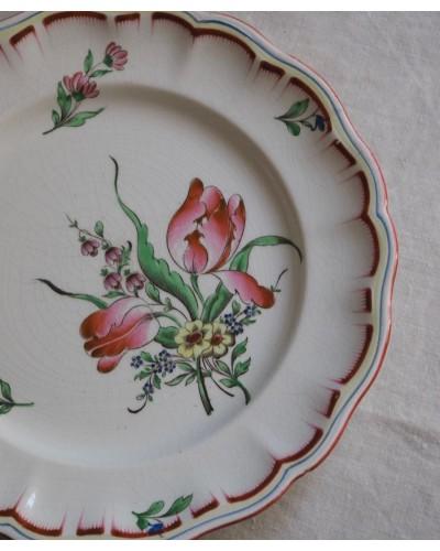 """リュネヴィルのクルーズ皿 """" Réverbère"""" チューリップ"""