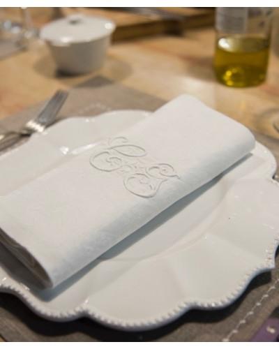 Serviettes de table blanches, anciennes damassé, monogramme C G