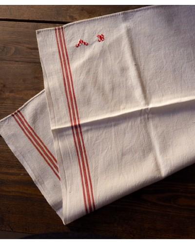 Torchon écru, lin et coton, 3 bandes rouges,  monogramme A B